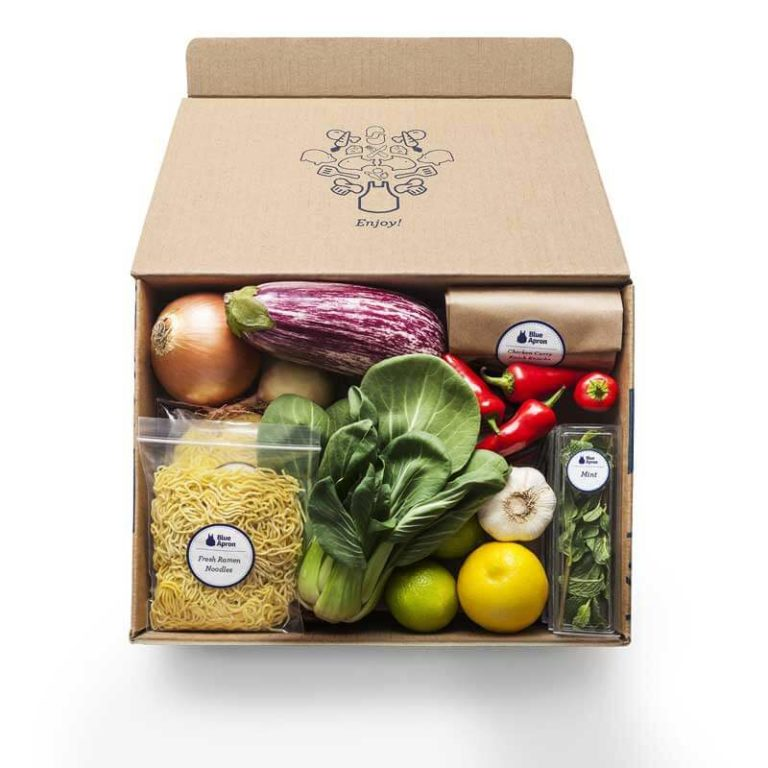 Box full of fresh food and vegetables