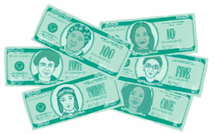 Illustrated American currency with female portraits