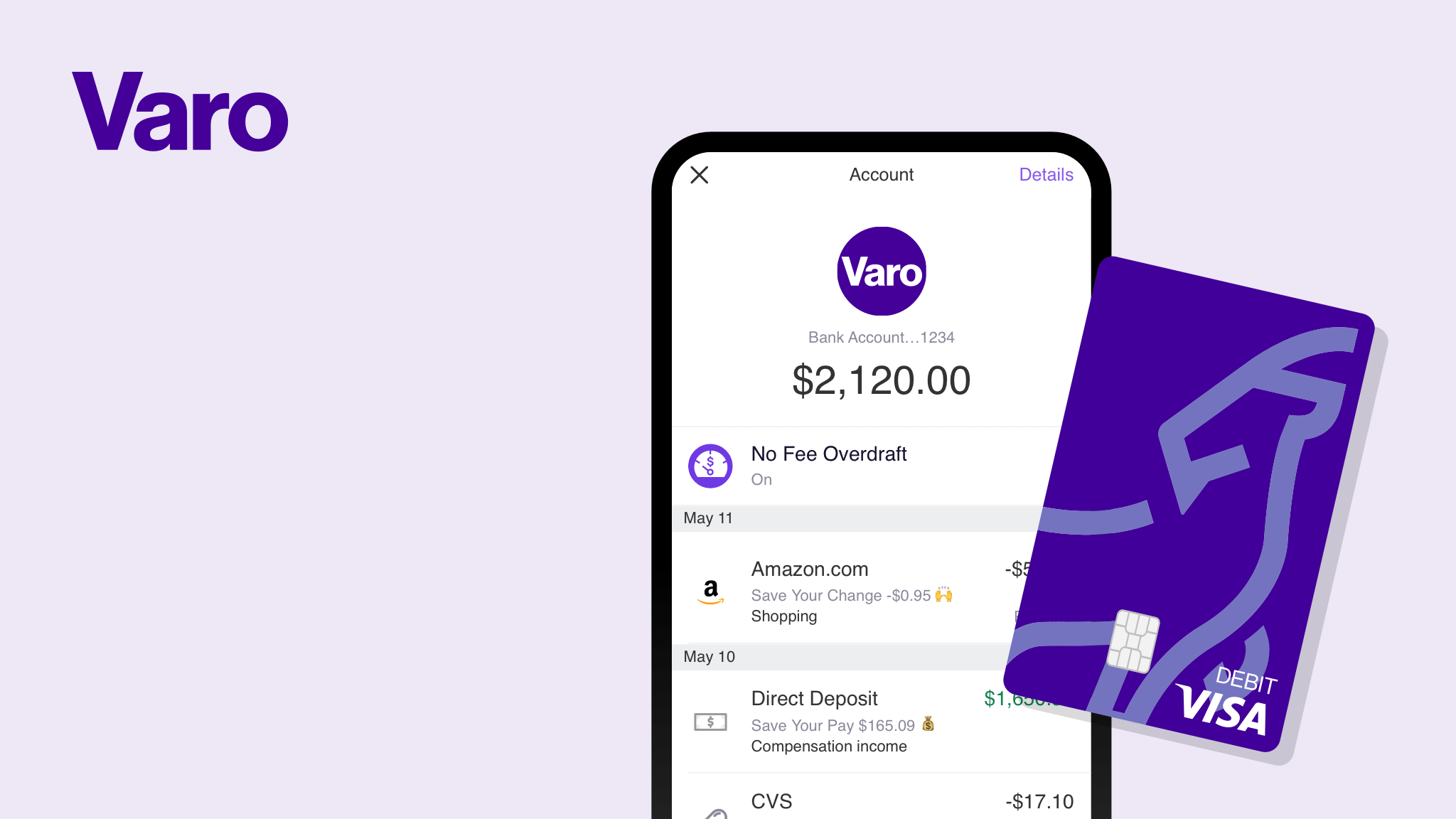 Mobile banking with Varo's no fee overdraft and a debit card