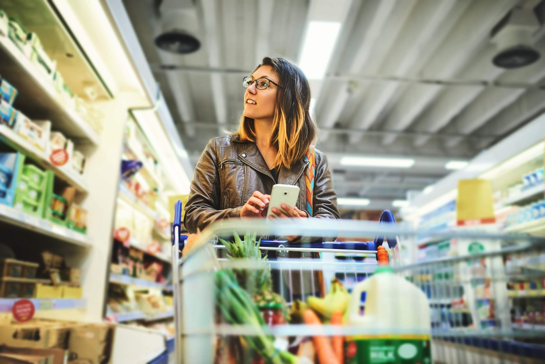Female shopping at a grocery store