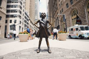 Bronze statue of a confident young girl in New York City
