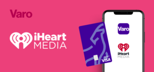 iHeartMedia logo with Varo mobile banking and debit card