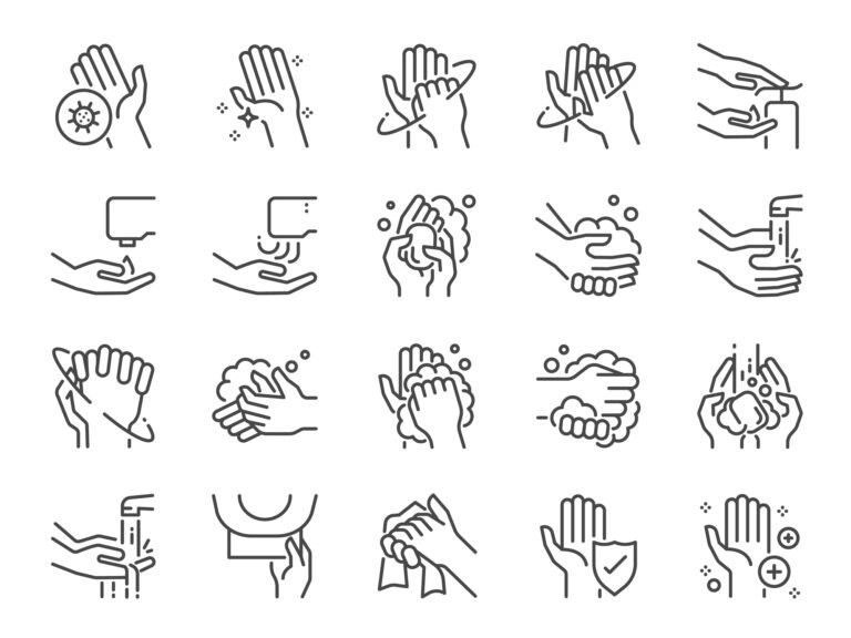 Illustrations of hand washing