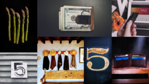 A collage of photos including food and numbers