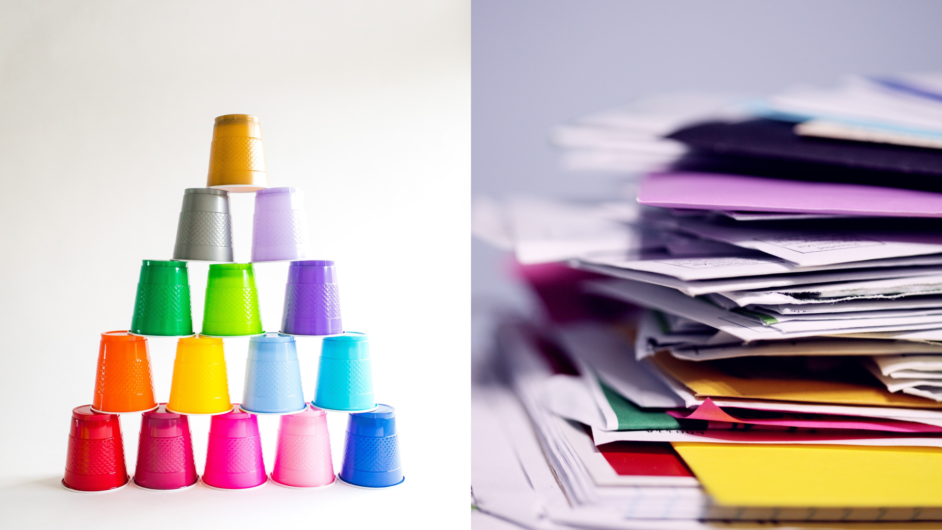 A pyramid of multi-colored cups next to a stack of multi-colored folders and paper