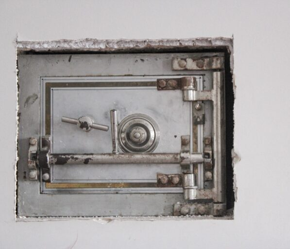 A safe placed into a rough cut wall