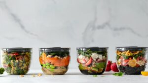 Four pre-prepared meals in jars